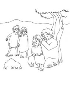 Jeesus siunaa lapsia-värityskuvat