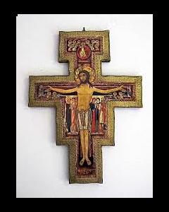 San Damianoksen risti 10x13 cm kulta