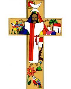 Värikäs Kristusristi 30 cm El Salvadorista