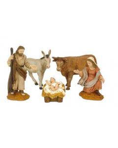 Jouluseimi, 5 hahmoa, Jeesus-lapsi, härkä, aasi ym.