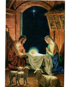 Joulukortti Pyhä perhe ja tähti 2-osainen  R128 5 kpl
