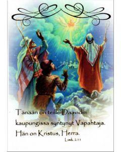 Joulukortti Enkeli ilmestyy paimenille 5 kpl