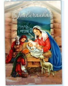 Joulukortti Maria, Jeesus ja lapset 2-osainen -- 2 kpl