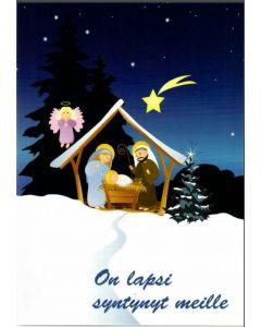 Joulukortti Pyhä perhe ja enkeli 5 kpl