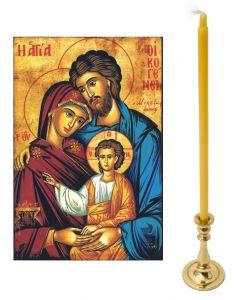 Kotialttari - messinkinen tuohuksenjalka, Pyhä perhe-ikoni, 5 tuohusta