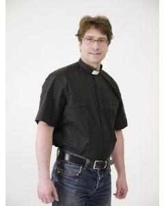 Musta lyhythihainen sekoitekankainen papinpaita miehelle, Sacrum