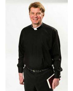 Pitkähihainen musta papinpaita Canterbury-kauluksella miehelle