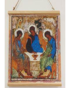 Ikonikangas Pyhä Kolminaisuus julistepuilla pieni 30x42cm