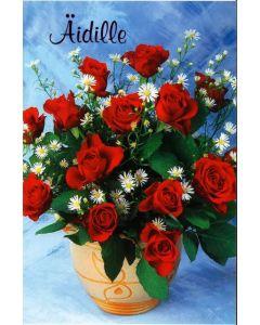 Äitienpäiväkortti punaiset ruusut, 2-os. +kuori