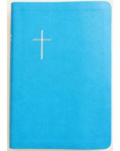 Raamattu Kansalle, keskikokoinen, turkoosi, reunahakemisto