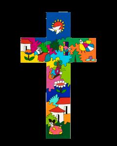 Värikäs risti 30 cm El Salvadorista